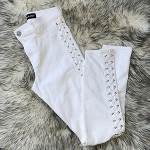 Express White Side Lace High Rise Legging Jeans 4
